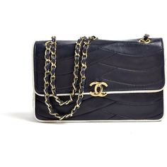 Chanel Vintage Navy Chanel 2.55 Bag With White Piping ($3,713) ❤ liked on Polyvore