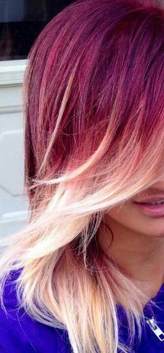 redish pinkish purple?? either way it ombre and gotta love it!