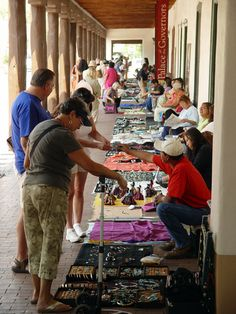 Native Americans selling their beautiful jewelry at Palace of the Governors, Santa Fe Plaza.