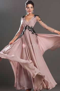 Embroidered sheer mesh long sleeves, v-neck and v-back, popular semi-formal A-line long chiffon prom dress with lace appliques.