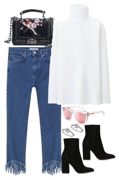 """""""Untitled #3978"""" by amyn99 ❤ liked on Polyvore featuring MANGO, Uniqlo, Topshop, Gianvito Rossi and RetroSuperFuture"""