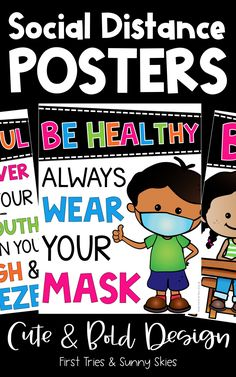 Social Distancing Posters for Kids - Healthy Habits Posters - Promote healthy habits with this colorful set of 27 social distancing posters! Prevent the spread of germs by hanging these signs throughout your primary or intermediate classroom. Each poster displays a healthy habit with pictures and colorful easy-to-read words! #covid #pandemic #primary #elementary #posters #health #classroom #socialdistancing #middleschool #healthposters #covid19 #intermediate #bulletinboards #1stgrade… Classroom Board, Classroom Posters, School Classroom, Classroom Decor, Help Teaching, Teaching Resources, Teaching Ideas, Healthy Kids, Healthy Habits