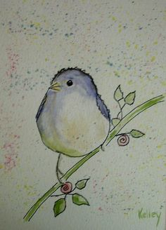 Fat Bird watercolor postcard from MarilynKellyArt. How cute and sweet! :)
