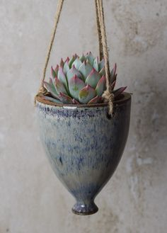 """Hanging Succulent Planter, comes WITHOUT plant, handmade ceramics, size: 5 tall, 3.5"""" diameter, drainage, white-blue glaze, pottery, (HP39) by JolanaCeramicDesigns on Etsy"""