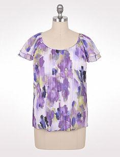 Plus Size Pleated Violet Blouse | Dressbarn
