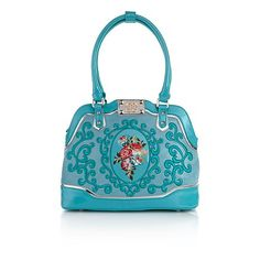 Sharif Baroque Bouquet Scroll Leather Luxe Satchel
