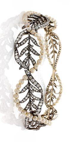 A natural pearl, diamond, gold and silver necklace/ bracelets by ROUVENAT - FELIX DESPRES, circa 1890.