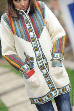 Купить Вязаное пальто W6 - рисунок, белый, полосатый, домики, орнамент, вязаное пальто, шерсть