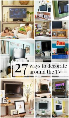27 ideas for decorating around the TV! plus gallery walls and other techniques to hide the television