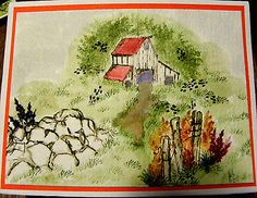 OLD-BARN, flowers,rocks, fence, greenery all other items used in examples sold separately. Made by Art Impressions. You can purchase these  in  my ebay store. Click on picture & it will take you into this listing in my Ebay Store. .  My ebay Store is:  Pat's Rubber Stamps & Scrapbooks or call me 423-357-4334 with order. We take PayPal. You get free shipping with $30.00 or more on phone orders.
