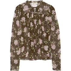 Ulla Johnson Petunia floral-print silk-crepon blouse (6.177.645 IDR) ❤ liked on Polyvore featuring tops, blouses, floral blouse, silk camisole, silk cami, silk neck ties and neck ties