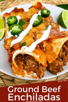 Enchilada Casserole Beef, Red Enchilada Sauce, Enchilada Recipes, Ground Meat Recipes, Beef Recipes, Cooking Recipes, Yummy Recipes, Chicken Recipes