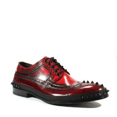 Cesare Paciotti Mens Shoes Magic Old Melanzana Leather Oxfords Material: Leather Hardware: Metal Studs Color: Melanzana / Red Details: Studded Patent Leather ShoeAlmond ToeWingtip Broguing DetailLace Up FrontSpike Stud Details along Toe and Men's Shoes, Dress Shoes, Shoes Men, Leather Shoes, Patent Leather, Italian Shoes For Men, Mens Designer Shoes, Doc Martens Oxfords, Oxford Shoes