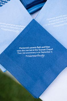Cocktail napkins with fun facts.