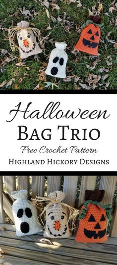 Crochet this Halloween Bag Trio for holiday decorations or for candy/gift bags for the kids! The free patterns are easy and work up quickly. x 5 Häkelanleitungen gratis Halloween Bag Trio - Highland Hickory Designs - Free Crochet Patterns Sac Halloween, Halloween Taschen, Halloween Treat Bags, Halloween Crafts, Halloween Decorations, Halloween Knitting, Halloween Designs, Bag Crochet, Crochet Gratis