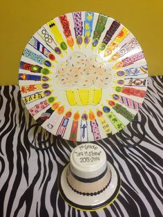School auction idea: ceramic birthday plate - candles are fingerprints and decorated by student