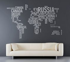 VERY COOL!  World Map with Country names contemporary wall decal sticker.  Apply this sticker in any flat surface (laptop, windows, doors, furniture). Deco vinyl for your home.