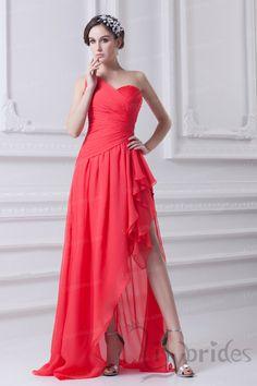 A-line One-shoulder Chiffon Asymmetrical Train Prom Dress
