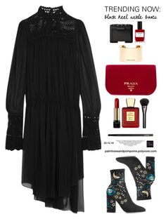 """""""Trending Now: Block Heel Ankle Boots / Valentino Printed Suede Ankle Boots"""" by palmtreesandpompoms ❤ liked on Polyvore featuring Magda Butrym, Valentino, Prada, NYX, Gucci, Lancôme, Nailberry, Bella Bellissima, NARS Cosmetics and valentino"""