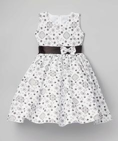Another great find on #zulily! White & Black Paisley A-Line Dress - Infant, Kids & Tween #zulilyfinds