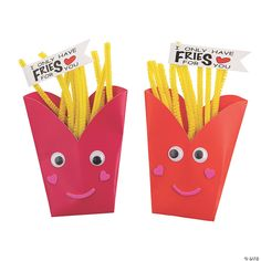 """""""I only have fries for you!"""" Fries… eyes… get it? This adorably unique Valentine kids' craft kit features red and pink French ... Arts And Crafts For Adults, Valentine's Day Crafts For Kids, Easy Arts And Crafts, Craft Activities For Kids, Toddler Crafts, Preschool Crafts, Fun Crafts, Art Projects Kids, Preschool Food"""