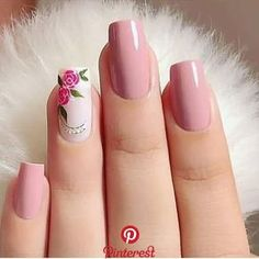 Make an original manicure for Valentine's Day - My Nails Floral Nail Art, Pink Nail Art, Pink Nails, My Nails, Summer Acrylic Nails, Cute Acrylic Nails, Acrylic Nail Designs, Nail Art Designs, Summer Nails