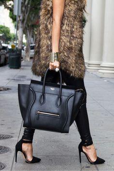 "Black Mini Luggage Celine Bags, Black Haute & Rebellious Leggings | ""OVERSIZED FAUX FUR VEST AND THE CELINE MINI LUGGAGE BAG"" by HAUTE_AND_REBELLIOUS - Chictopia"