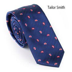 Tailor Smith Skinny Paisley Necktie Microfiber Mens Slim Designer Tie Top Fashion Dress Cravat Casual Neckwear Accessories