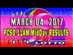 PCSO MidDay - 11AM Results March 04, 2017 (EZ2 & SWERTRES)