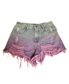 High Waist Ripped Denim Shorts in Tie Dye