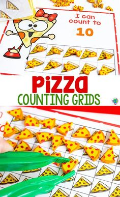 Pizza mini eraser counting game for preschoolers. Practice counting to counting to 20 and counting to 100 with these pizza mini eraser themed counting grids for preschool, pre-k and kindergarten. Kindergarten Math Activities, Kindergarten Lesson Plans, Educational Activities For Kids, Counting Activities, Preschool Activities, Space Activities, Preschool Worksheets, Kindergarten Library, Library Activities