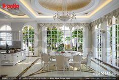 Không thể cưỡng lại sức hấp dẫn và quyến rũ khi bước vào khu vực phòng ăn phong cách cổ điển Pháp đẳng cấp này