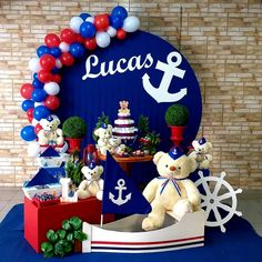 😍🥰 Let us just share with you how yesterday's 🧸Bears and Boats⛵ Nautical Baby Shower 🤰turned out perfectly‼Welcoming Baby Lucas BEARY soon 🚼 Sailor Birthday, 1st Boy Birthday, 1st Birthday Parties, Sailor Baby Showers, Anchor Baby Showers, Birthday Decorations, Baby Shower Decorations, Baby Shower Themes, Shower Centerpieces
