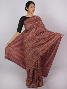 Tussar Handloom Silk Hand Block Printed Saree in Plum Ivory Grey - S031701207