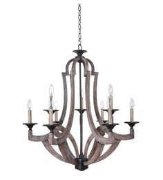 Jeremiah by Craftmade Winton 9 Light Chandelier in Weathered Pine 35129-WP #lightingnewyork #lny #lighting