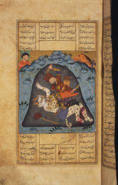 Rustam seventh feat: Slays White Div Shahnama, Princeton Islamic MSS. Ancient Persia, Ancient Art, Middle Eastern Art, Persian Motifs, Miniature Paintings, World Literature, Demonology, Arabian Nights, Art Studies
