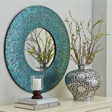 Azure Mosaic Mirror - Round @ pier one - great find! Mirror Mosaic, Mosaic Art, Wall Mirror, Mirrored Vanity Table, Cross Art, Funky Furniture, Decoration, Retro, Interior And Exterior