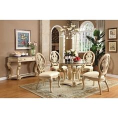 Jessica McClintock Home The Boutique Collection Piece Round - Glass top pedestal dining table sets