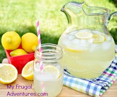 Perfect homemade lemonade. Light, refreshing with the perfect amount of tang.  So easy to make and you will be addicted!