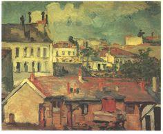 Acheter Tableau 'le toit' de Paul Cezanne - Achat d'une reproduction sur toile peinte à la main , Reproduction peinture, copie de tableau, reproduction d'oeuvres d'art sur toile