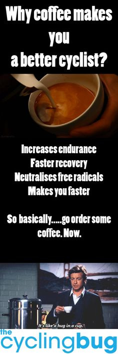 Why COFFEE makes you a better cyclist? Cycling Motivation, Cycling Quotes, Cycling Tips, Road Cycling, Nutrition Tips, Fitness Nutrition, Fitness Tips, National Bike Month, Bicycle Maintenance