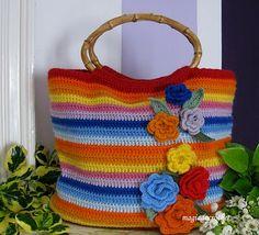 Magia do Crochet: Muitas flores para a mala colorida em crochet
