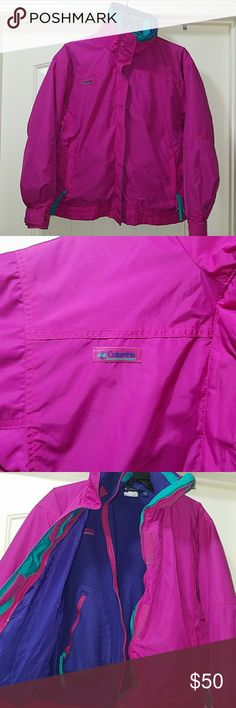 """Womens Columbia 3 in 1 - Neon Pink - Features a purple inner liner made of 100% polyester that can be zipped off. - Liner and jacket both size XL. - Jacket is 100% Nylon. - With 2 zip outer side pockets - """"Bugaboo"""" spell out on back of collar. Columbia Jackets & Coats"""