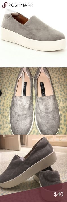 NWT Steven by Steve Madden grey suede slip ons NWT Steven by Steve Madden grey suede slip on sneakers. Stretchy material on top of foot. Never worn. True to size. Steven by Steve Madden Shoes Sneakers