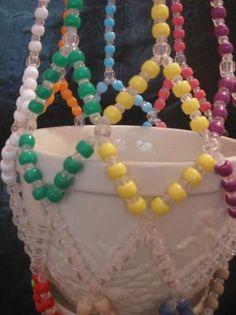 Multi. Colored Pony Bead Plant Hanger