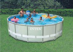 Intex x Circular Ultra Frame Metal Pool + Sand Filter Pump , Pools & Inflatables Above Ground Pool Steps, Above Ground Swimming Pools, In Ground Pools, Intex Swimming Pool, Intex Pool, Piscina Intex, Metal Pool, Gardens, Piscine Hors Sol