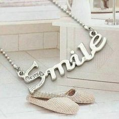 $2.26 Sweet Style Alloy Smile Letters Shape Pendant Necklace For Women