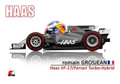 Romain Grosjean in the Ferrari powered Haas VF-17