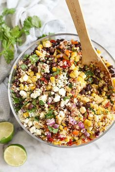 Southwest Quinoa and Grilled Corn Salad: is a simple but flavor packed side dish. | Pinned to Nutrition Stripped | Salad