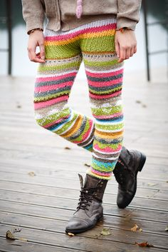 knitted colourful pants by lieneemm on Etsy, via Etsy. Crochet Socks, Knitting Socks, Crochet Clothes, Hand Knitting, Knit Crochet, Knit Leggings, Knit Pants, Knit Skirt, Knitted Tights